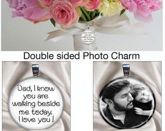 Bridal bouquet double sided photo charm / custom photo charm / Bridal bouquet charm / Memorial charm / Gift for Bride / Wedding keepsake