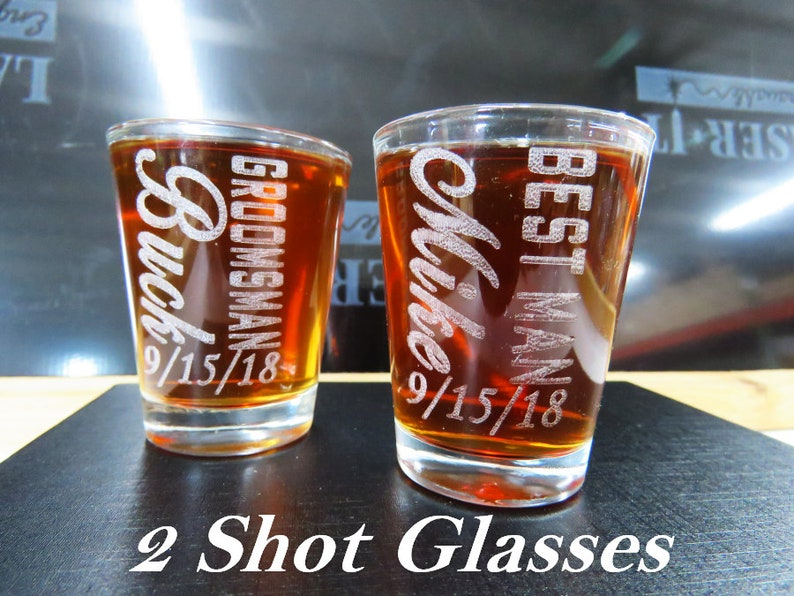Bridesmaid Glass Take a Shot Bourbon Glass Groomsmen Gift 2 Personalized Whiskey Shot Glass We Tied the Knot Bachelor Wedding Toast
