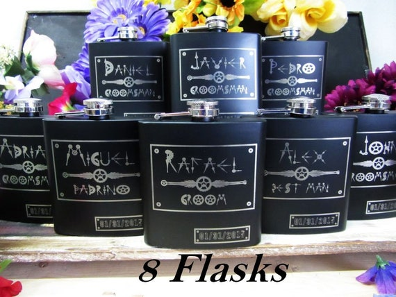 Steampunk Wedding Gifts: Set Of 8 Steampunk Wedding Party Gifts Personalized Flask