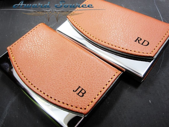 Personalized business card holder leather business card etsy image 0 reheart Choice Image