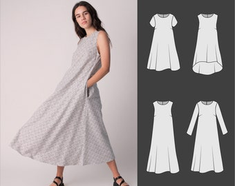 Dress pattern, Pdf, sizes 20-28, Sewing patterns for women, -Daphnie is the ultimate shift dress pattern for woven fabrics