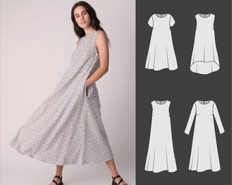 Dress pattern, sizes 10-18, PDF, Sewing patterns for women, Shift dress pattern -Daphnie is the most versatile dress pattern for all seasons