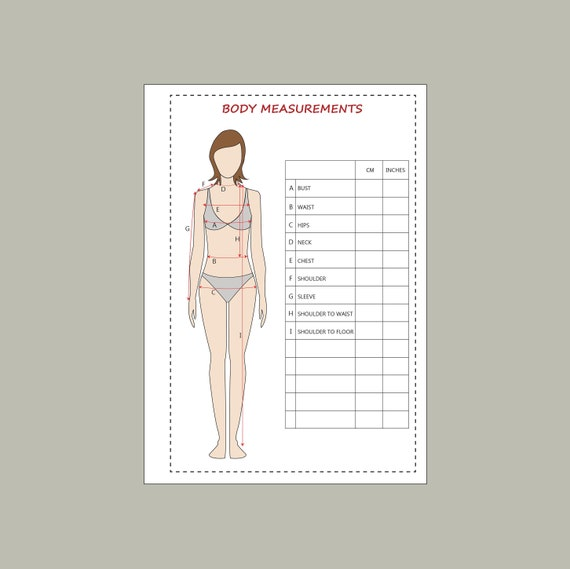 This is a photo of Printable Body Measurement Chart intended for calorie tracker