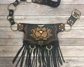 Leather lotus hip belt