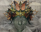 leather headdress, fearie crown, leather crown, sculpted leather, festival crown, crown, burningman  crown