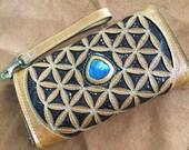 Handmade leather wallet, clutch purse, festival wallet, inlaid blue labradorite