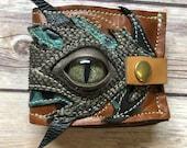 Handmade leather wallet, leather wallet, handmade wallet, flower of life, handmade wallet