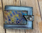 Handmade leather wallet, leather wallet, handmade wallet, flower of life, handmade wallet