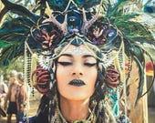 Peacock feather headdress...