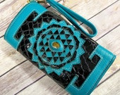 Handmade leather wallet, clutch purse, festival wallet, inlaid blue labradorite