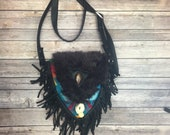 Cross body bag with black fringe and Pendelton Wool