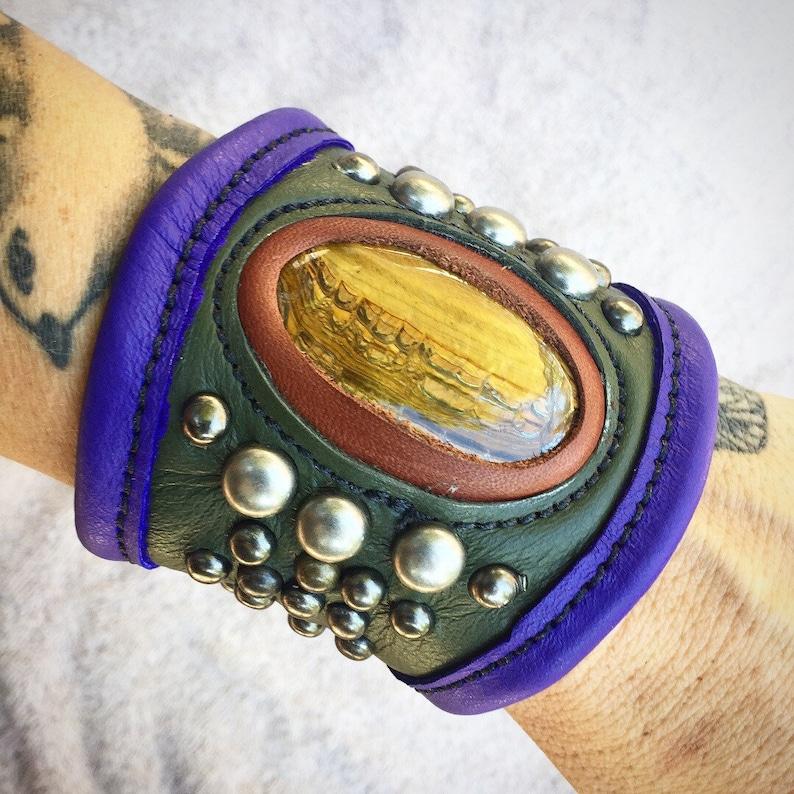 leather cuff cuff bracelet leather bracelet leather bracer image 0