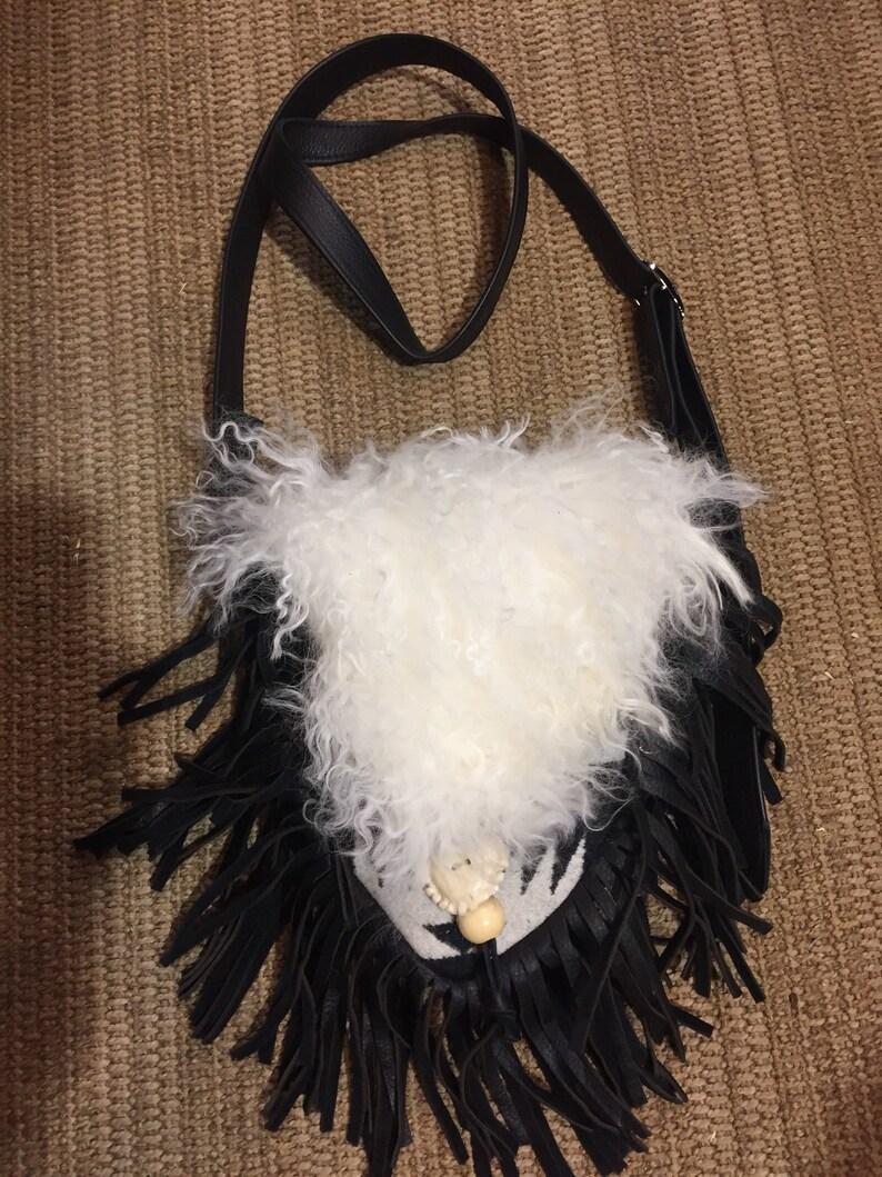 Cross body bag with black fringe and Pendelton Wool image 0
