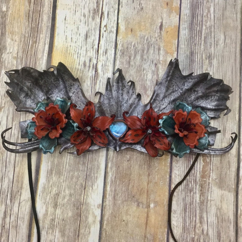 leather headdress fearie crown leather crown sculpted image 0