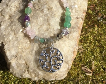 Copper Spiral Pendant with Choice of Labradorite Amethyst Smoky Quartz or Garnet Necklace