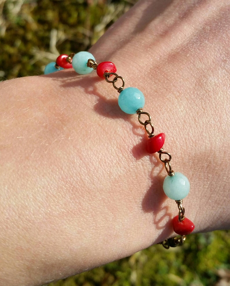 Reiki WANDERLUST TRAVEL BRACELET Topaz Aquamarine Coral Antique Bronze Silver Wire Wrapped Bracelet Infused Healing Gemstones Joy Depression