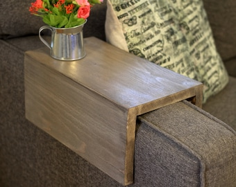 Custom-made Wood Couch Arm Wrap (shelf/table), for square sofa arms, Colonial Gray