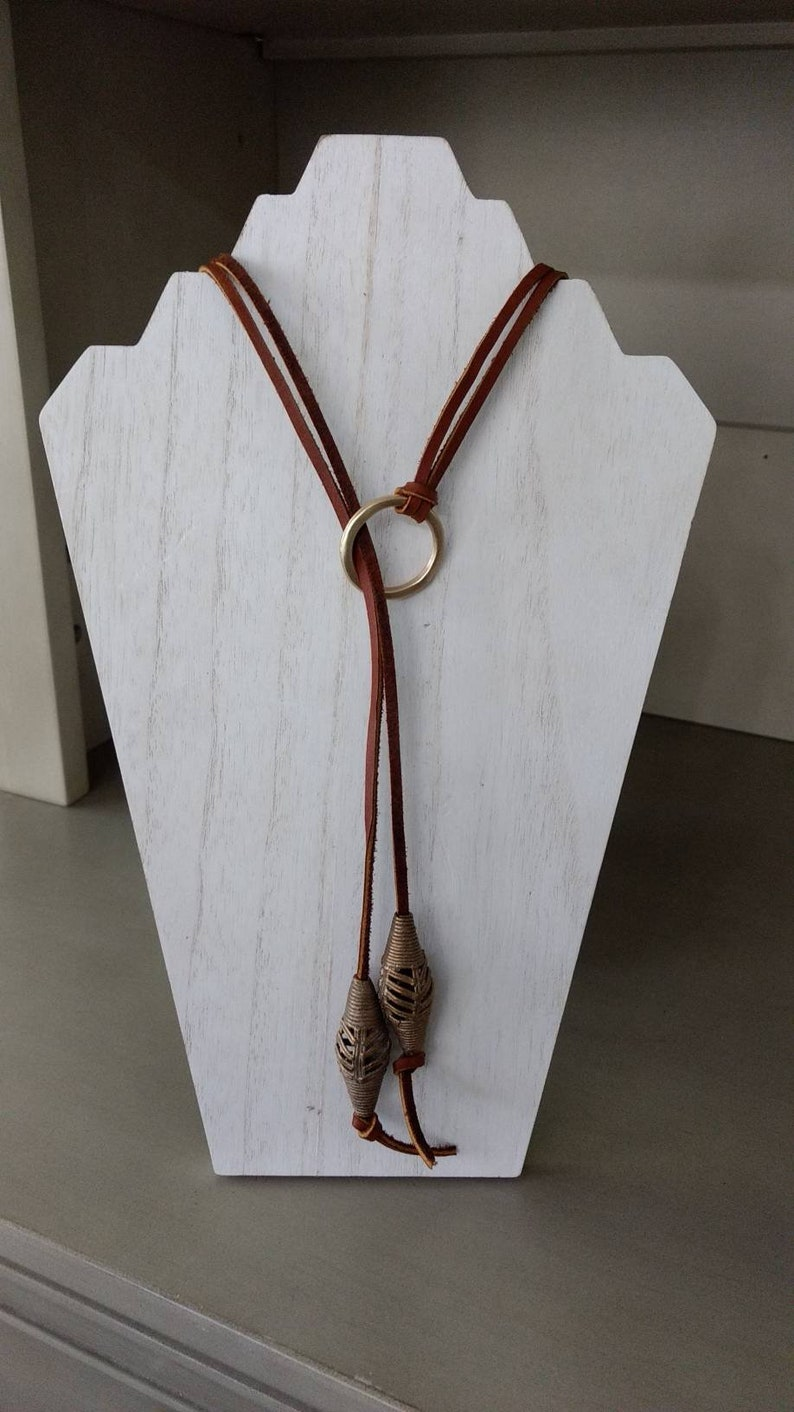 Leather African Beaded Necklace