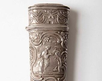 18e C Frans etui koffer - zilver
