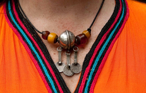 Antique Berber silver bead and faux amber necklace with coins dated 1910