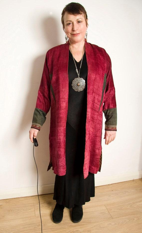 Antique red silk velvet Turkman robe