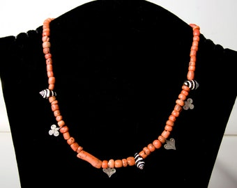 Moroccan antique coral, silver and shell bead necklace