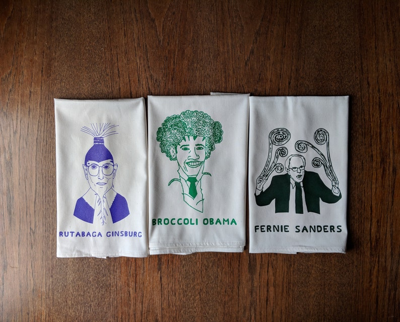 3 Vegetable Celebrity Tea Towels 100 Organic Cotton Grown Etsy