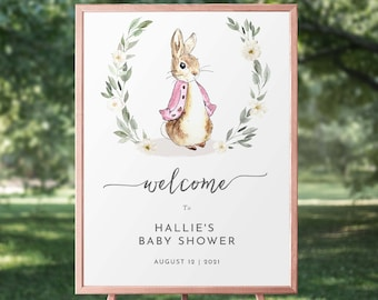 Peter Rabbit First Birthday Sign PrintedShipped OR Printable Some Bunny is One Welcome Sign or Poster