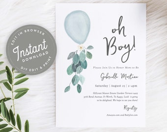 Simple Baby Shower Invite Simple Baby Invite Modern Baby Shower Instant Download Blue Heart It/'s a Boy Shower Boy Baby Shower