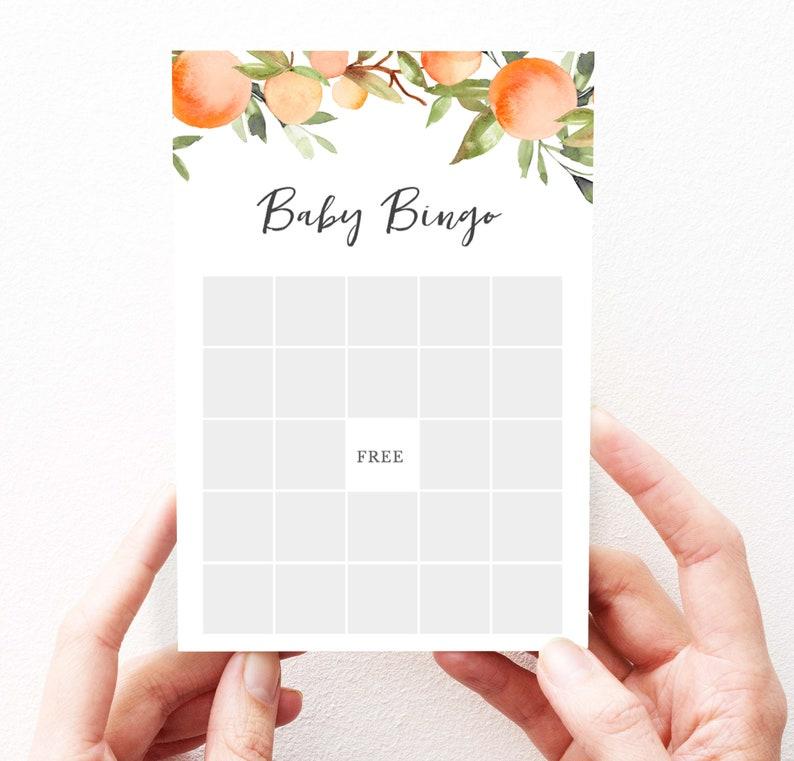 Little Cutie Shower Games Bingo Printable Baby Shower Game Editable Oranges Baby Shower Games Instant Download 145