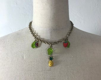 Fruit Salad Necklace, gold chain, handmade