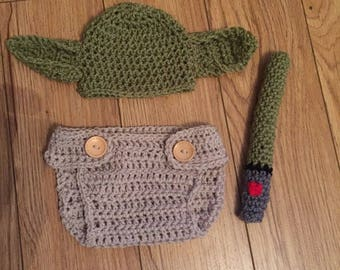 handmade crochet yoda outfit nappy cover light saber photo props fancy dress star wars