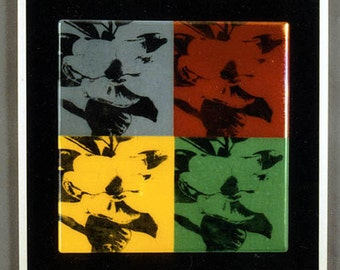 Four Magnolias - Beautiful Andy Warhol - style Fused Glass Panel, mounted on black glass background, framed for wall display