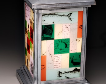 Story Lamp: 4-sided Illuminated Fused Glass Art Lamp