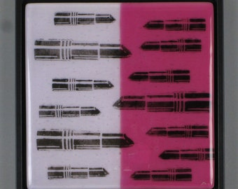 STANDOFF - Pop Art Fused Glass Framed Panel - Lipstick War