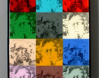 12 Christs - Fused glass panel featuring 12 images and negatives of Christ in Andy Warhol-ish style