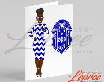Diva Monica Zeta Phi Beta Shield Card