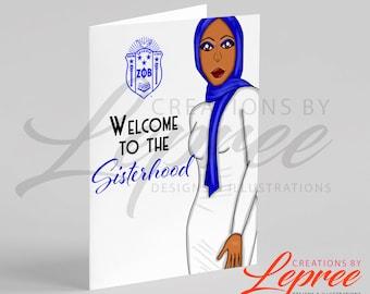Diva Saleema Zeta Shield Welcome to Sisterhood Card