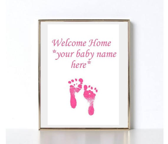 welcome home baby girl digital paper art gift pink baby etsy