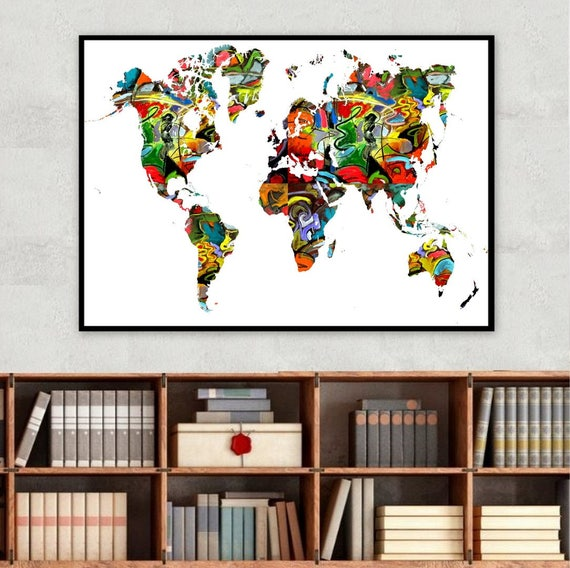 Rainbow world map poster home decor wall decor school etsy gumiabroncs Gallery