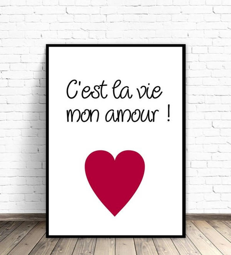 7085eaa787 C'est la vie mon amour french quotes wall decor gift for | Etsy