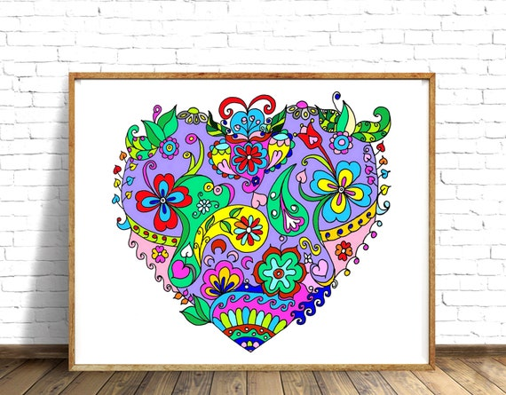 zentangle inspired heart coloring page adult coloring book print and color drawing zen heart coloring pages love theme lovers day