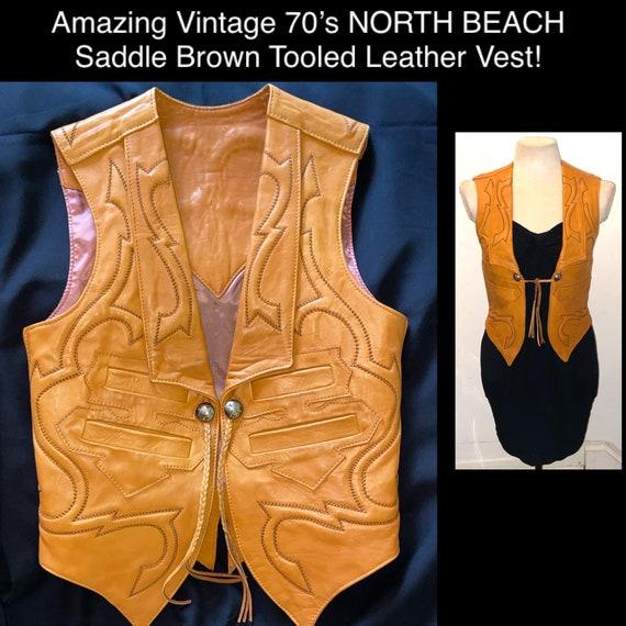 Boho 70's NORTH BEACH Saddle Brown Tooled Leather