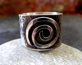 Silver Spiral Rustic ring  Sterling Statement wide band swirl circles ring