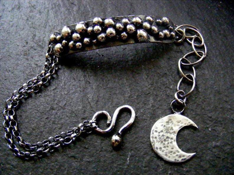 Silver Balls Rustic bracelet with crescent moon charm Oxidised silver bracelet
