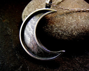 Silver Crescent Moon Textured Pendant necklace Hammered moon pendant with chain