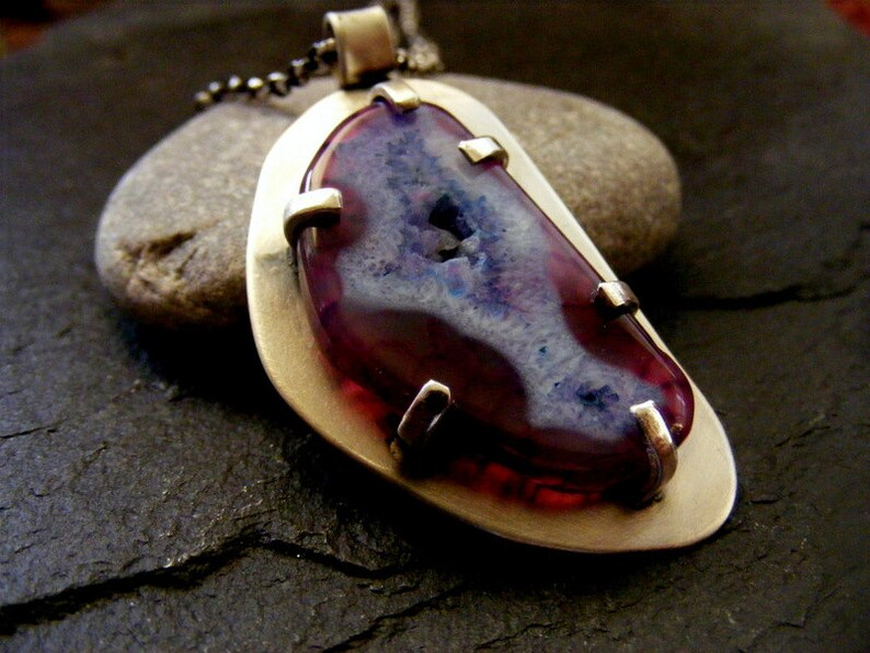 Silver purple geode necklace silver druzy pendant with chain