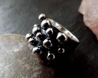 Silver Balls oxidised wide band ring, wide band edgy handmade black and silver ring