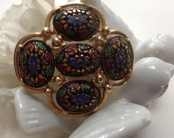 Sarah Coventry Clip on Flower Earrings Silver Toned Metal Pearlescent Bead Filigree 1960s Floral Petal Filigree Design Five Petal