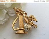 ON SALE PD Rhinestone Heart Brooch Pin Premier Designs Shiny Angels Cupid Harp Romantic Bridal Wedding Holiday Valentine Christmas Mother 39 s